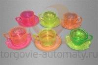"""Игрушки Kraft """"Чашка с блюдцем прозрачные"""" БЕЗ капсул 28-32 мм (500 шт./упак.)"""